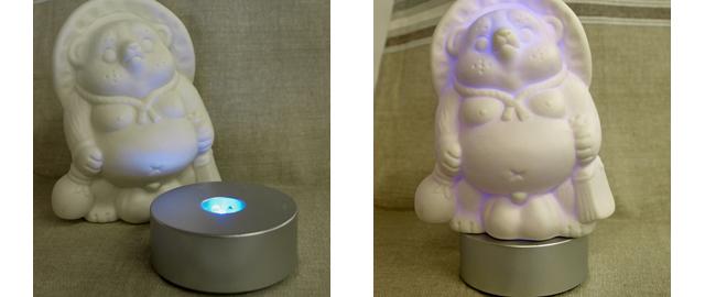 LEDで7色に光る信楽焼「信楽透器」